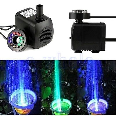 LED Light Submersible Water Pump Aquariums Fish Pond Fountain Sump Waterfall BE