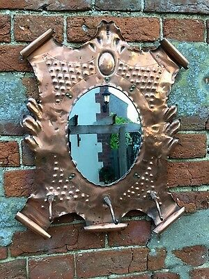 Fabulous Unique Hand Crafted Genuine Arts & Crafts Copper Wall Mirror