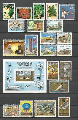 Cote D`ivoire 1980-1981 Nice Selection Mnh ** 60+ Stamps