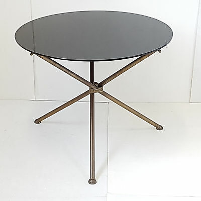 Coffee Table Side Table Pedestal Table Round 1950 Vintage Years 50 Glass Brass