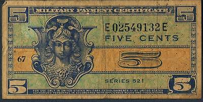 UNITED STATES MILITARY PAYMENT CERTIFICATE 5 M29 1951-54 aVF SER 521 p/h
