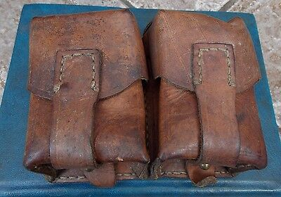 Superb Post Ww2 Cold War Period Soviet Ussr Real Leather Dual Ammunition Pouches