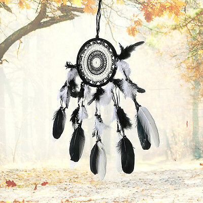 Black & White Feathers Dream Catcher Wall Hanging Car Home Decor Ornament AU