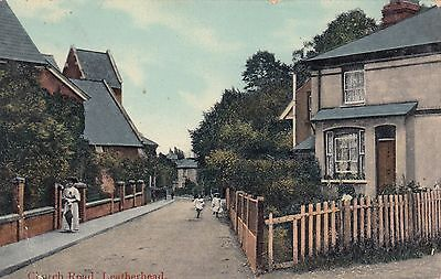 Church Road, Leatherhead, Surrey, old postcard, posted 1908
