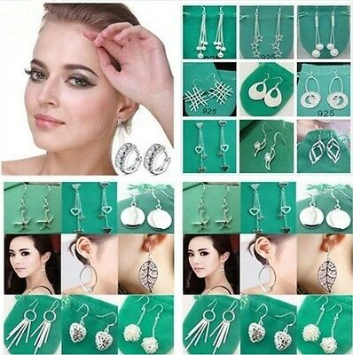 Hot sale high quality Soild 925Silver Jewelry Womens Silver Earrings+gift bag