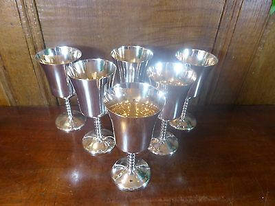 """EXCELLENT Silver Plated SET of 6 WINE/SHERRY GOBLETS - 12.2cms/4.75"""""""