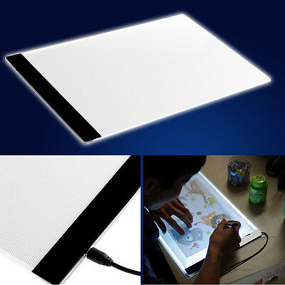 A4 LED Licht Schablone Kunst Board Box Tracing Zeichnung Tisch Pad + EU Adapter