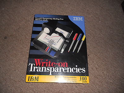 "IBM 24L5260 WRITE ON TRANSPARENCY FILM clear 8.5"" x 11"" 100 sheet SEALED in pkg"