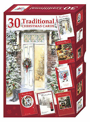Bumper Box Of 30 Traditional Christmas Cards - 4 Scenic Designs Per Pack
