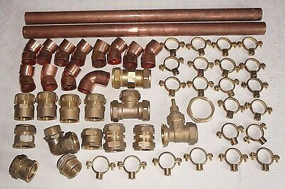 Job Lot of 28mm compression and end feed fittings plus copper pipe