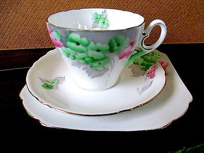 Art Deco / Vintage China Tea Set Trio.Shelley Cambridge, Phlox,0171,.British.