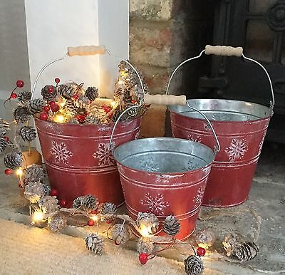 Vintage Chic Bucket Red Snowflake Shabby Red Paint Indoor Christmas Aged