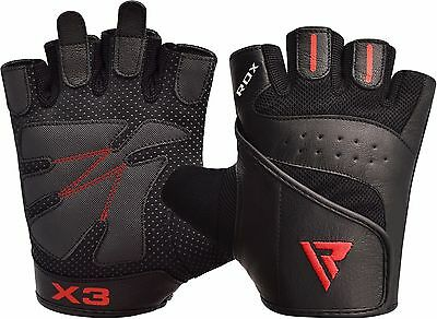 RDX Weight Lifting Training Gloves Gym Fitness Exercise Leather Wrist Straps