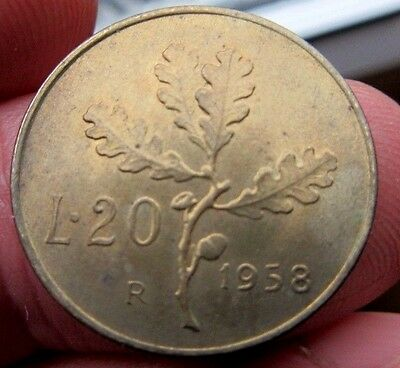 1958 Italy 20 Lira Mint Mark R