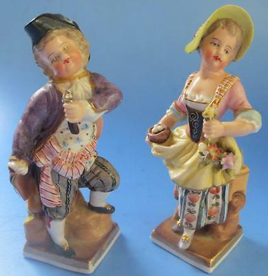 Antique Pair Porcelain Continental Figure and Figurine Voigt Bros Sitzendorf