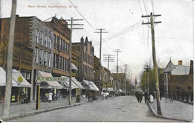 Main Street Buckhannon WV nice postcard postally used in 1908