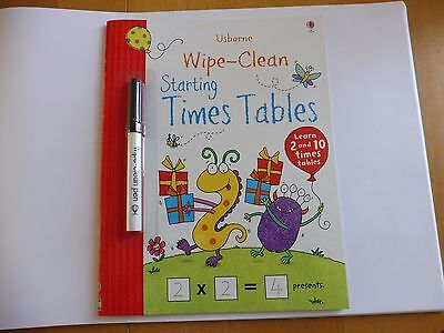 Starting Times Tables - Wipe-Clean Book with pen - Usborne - NEW