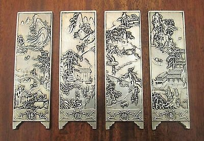 Collection of 4 Ornate Chinese Silver Plate Scroll Weight Panels Detailed Scenes