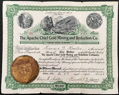 The Apache Chief Gold Mining & Reduction Co. 500 ,1 Dollar Shares 2nd April 1903