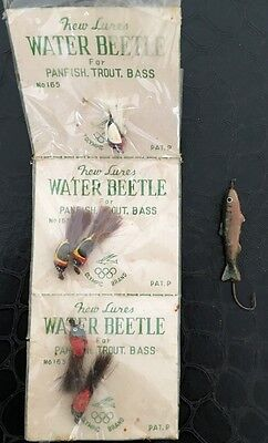 Vintage Water Beetle Lures for Panfish, Trout and Bass .