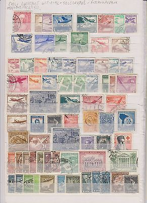 Chili Collection Of 71 Stamps Used From 1934 Aero Official Telegraphe Fiscaux