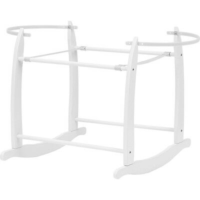 Clair de Lune Deluxe Rocking Baby Moses Basket Stand - White