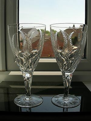 "Stuart Crystal - A Pair Of ""Ellesmere"" Cut Large Red Wine Goblets - Signed."