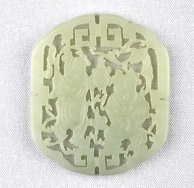 Fine 19/20thC Qing / PRC Chinese Carved Pale Green Jade Twin Boy Plaque Hanger