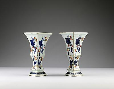Very Rare Pair 18C Antique Chinese Qing Yongzheng Porcelain Pronk Tapering Vases