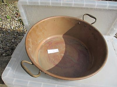 "Vintage Copper Jam Pan Trough Tub Planter Brass Handles Bowl French Old  15""W"
