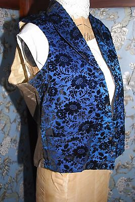 Gorgeous Antique Textured Floral Pattern Black Velvet Blue Linen Waistcoat S/M