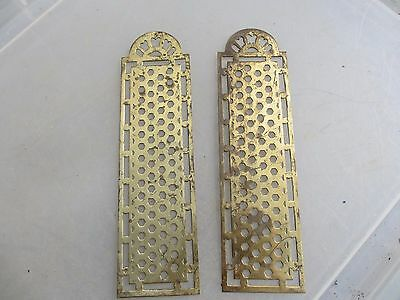Vintage Brass Finger Plates Push Door Handles French Pierced Antique Pair Old