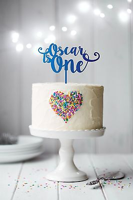 Is One Personalised First Birthday Cake Topper with name happy unique decoration