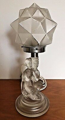 Art Deco Frosted Glass Nude Lady Lamp Base With Original Cubist Lamp Shade 1930s
