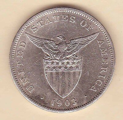 US Philippines 1903-P One Peso Silver Crown 1 peso