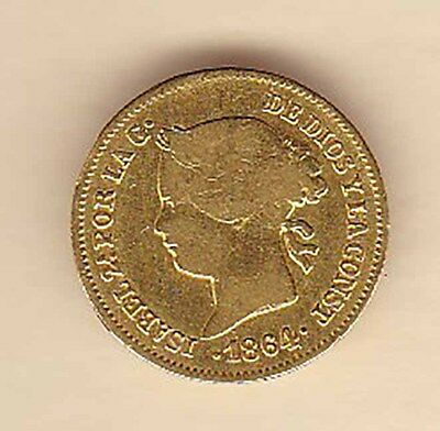 Philippines Spain GOLD coin 1864 1 peso
