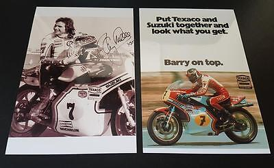 Motor Racing Legend Barry Sheene Signed (Printed) World Champion & Advert Photos