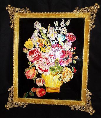 "Antique Early 1900's Reverse Foil Still Life Floral Bouquet Ornate Frame 20""X23"""