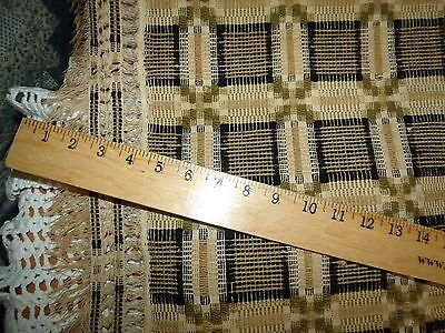 "Antique 19th C Homespun Wool Cotton Coverlet Black Green Gold Cream 82"" X 98"""