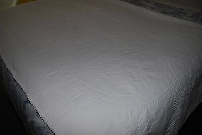 Fine Antique Embossed/Embroidered Marcella White Linen Bedspread/Throw 82 x 74""