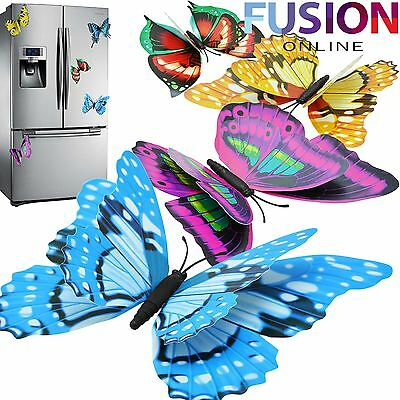 Large 3D Butterfly Fridge Magnet Wall Stickers Art Decal Room Decorations Decor