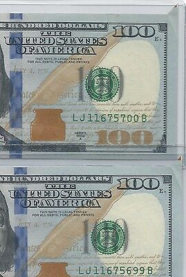 Scarce Consecutive 2 Two 2009A 100$ Printed Foldover Butterfly ERROR 5700B