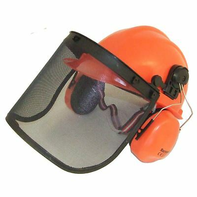 Chainsaw Safety Helmet Hat With Large Metal Mesh Visor For Extra Protection
