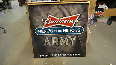 "Budweiser Heres to The Heroes Army 29.5"" tin sign"