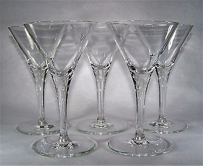 Vintage Set of 5, Classic Crystal Martini  Cocktail Glasses, Large Foot  150 ml
