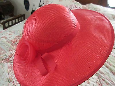 VINTAGE LADIES SPRING HAT WIDE BRIM TULLE ROSE w VEIL LOVELY!!