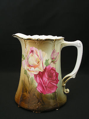 Tirschenreuth Bavaria Water Pitcher - Antique Hand Painted Pink Roses - 7488 36