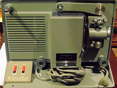 Vintage ARGUS M-500 Portable 8mm Film Projector tested Working extra bulb inc
