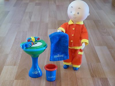 Caillou 12'' Vinyl Doll w/removable Red Pajamas & Bathroom Set Toy Sink-Towel ++
