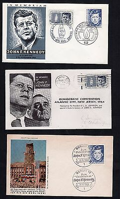 JF Kennedy event covers, two from Berlin, one Sarzin 1964 Democratic convention